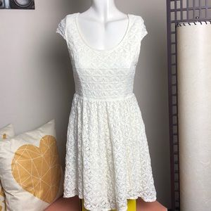 O'Neill • Ivory Floral Laced Skater Dress • Sz M
